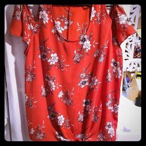 Open shoulder  flower blouse
